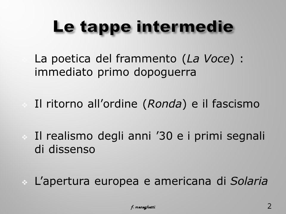 La poetica del frammento (La Voce) : immediato primo dopoguerra Il ritorno allordine (Ronda) e il fascismo Il realismo degli anni 30 e i primi segnali di dissenso Lapertura europea e americana di Solaria 2 f.