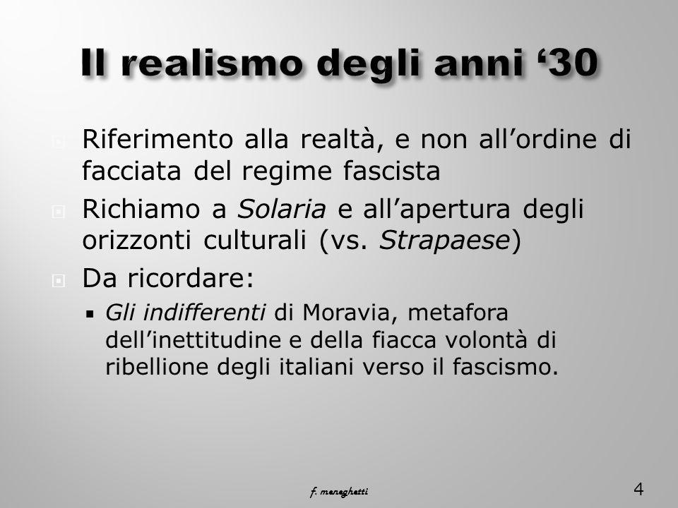 Riferimento alla realtà, e non allordine di facciata del regime fascista Richiamo a Solaria e allapertura degli orizzonti culturali (vs.