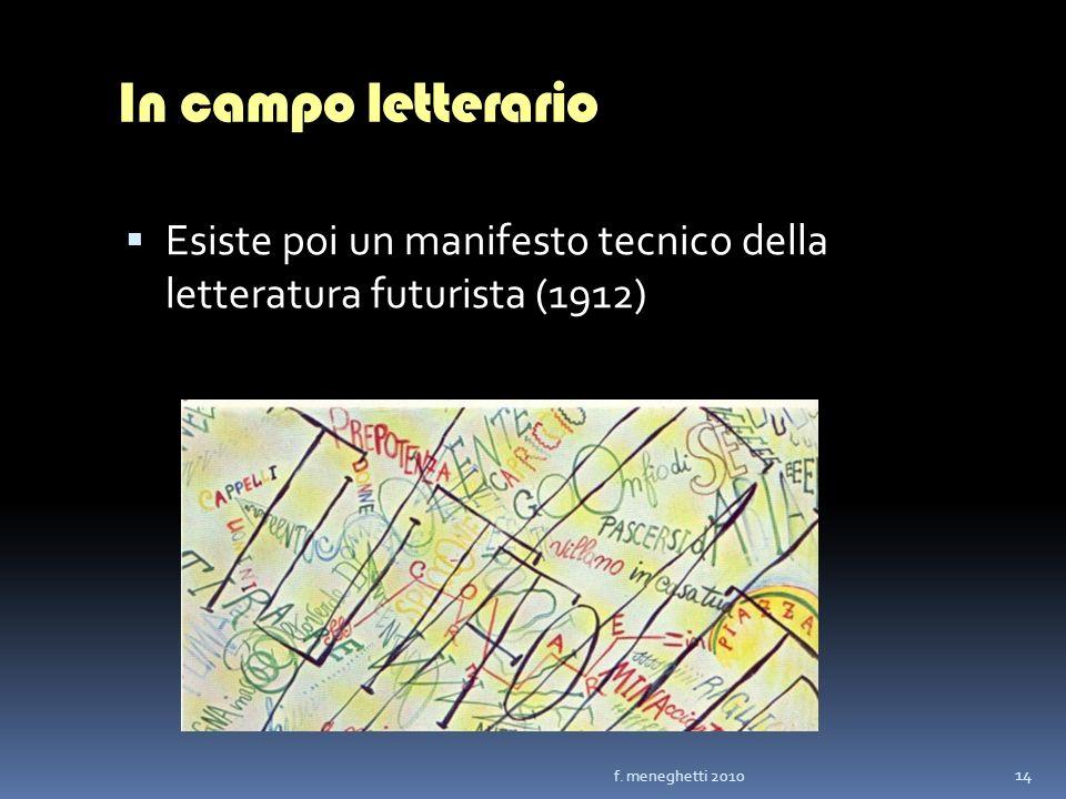 In campo letterario Esiste poi un manifesto tecnico della letteratura futurista (1912) 14 f. meneghetti 2010
