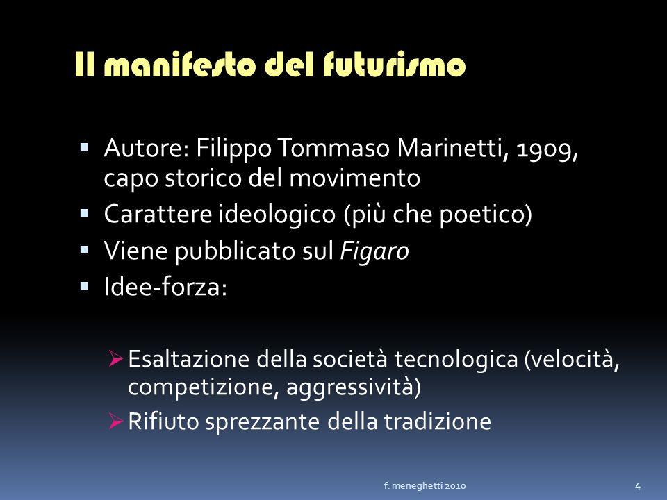 Il manifesto del futurismo Autore: Filippo Tommaso Marinetti, 1909, capo storico del movimento Carattere ideologico (più che poetico) Viene pubblicato