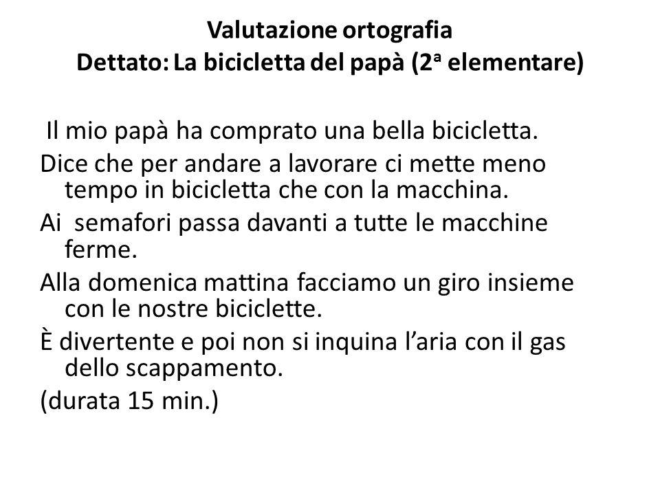 Valutazione ortografia Dettato: La bicicletta del papà (2 a elementare) Il mio papà ha comprato una bella bicicletta. Dice che per andare a lavorare c