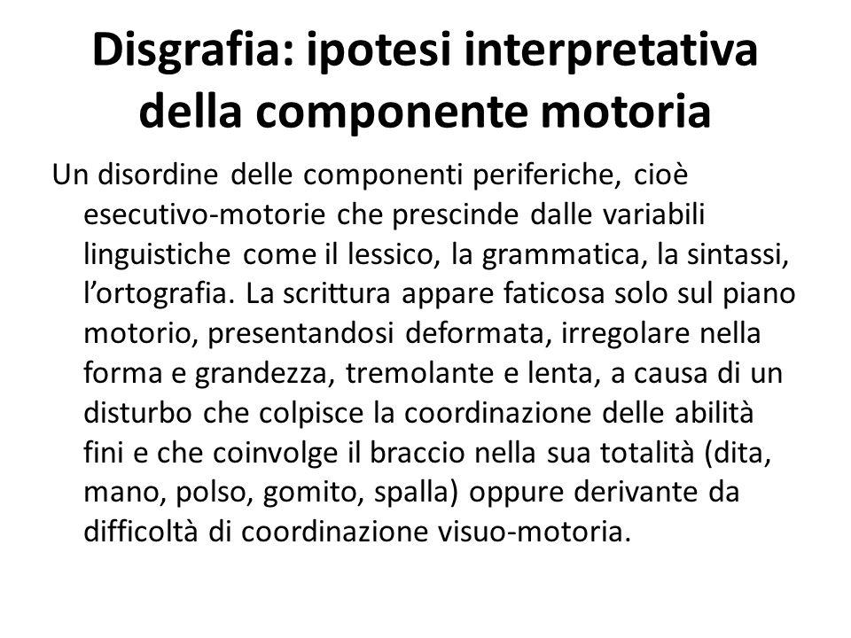 Disgrafia: ipotesi interpretativa della componente motoria Un disordine delle componenti periferiche, cioè esecutivo-motorie che prescinde dalle varia