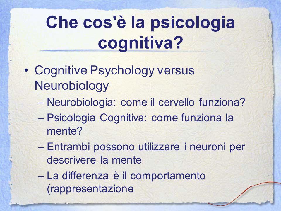 Che cos'è la psicologia cognitiva? Cognitive Psychology versus Neurobiology –Neurobiologia: come il cervello funziona? –Psicologia Cognitiva: come fun