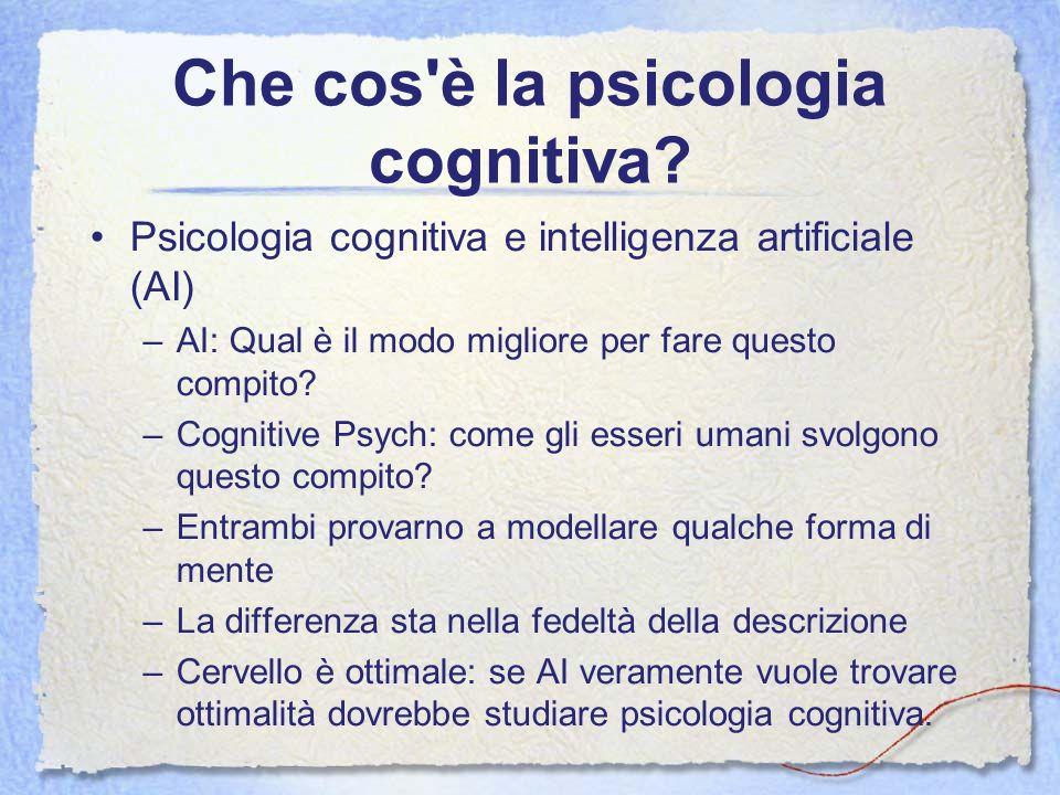 Che cos'è la psicologia cognitiva? Psicologia cognitiva e intelligenza artificiale (AI) –AI: Qual è il modo migliore per fare questo compito? –Cogniti