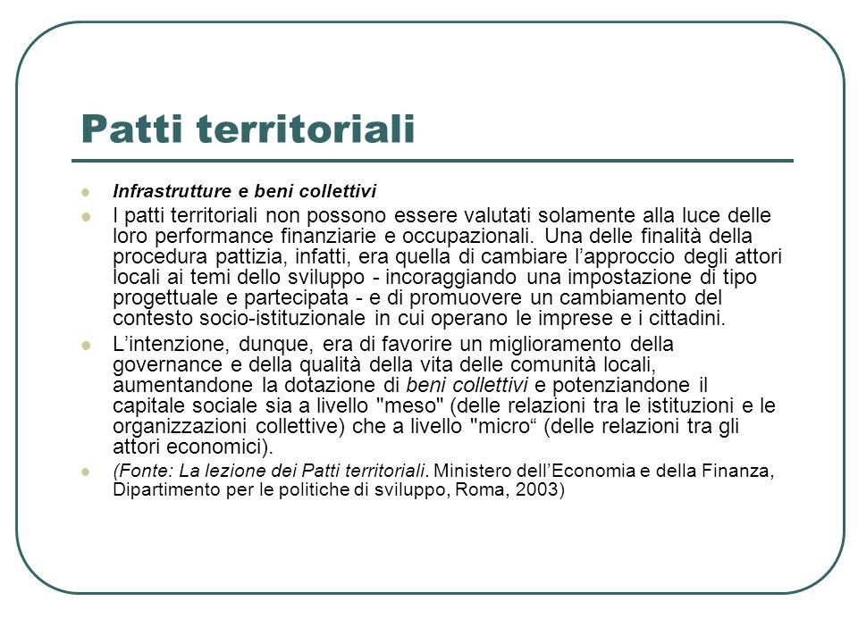Patti territoriali Infrastrutture e beni collettivi I patti territoriali non possono essere valutati solamente alla luce delle loro performance finanz