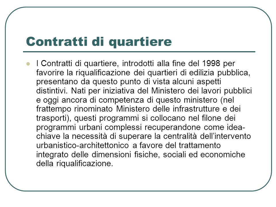 Contratti di quartiere I Contratti di quartiere, introdotti alla fine del 1998 per favorire la riqualificazione dei quartieri di edilizia pubblica, pr
