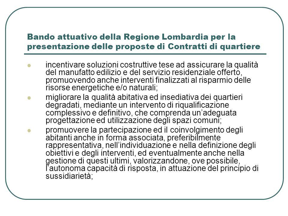 Bando attuativo della Regione Lombardia per la presentazione delle proposte di Contratti di quartiere incentivare soluzioni costruttive tese ad assicu