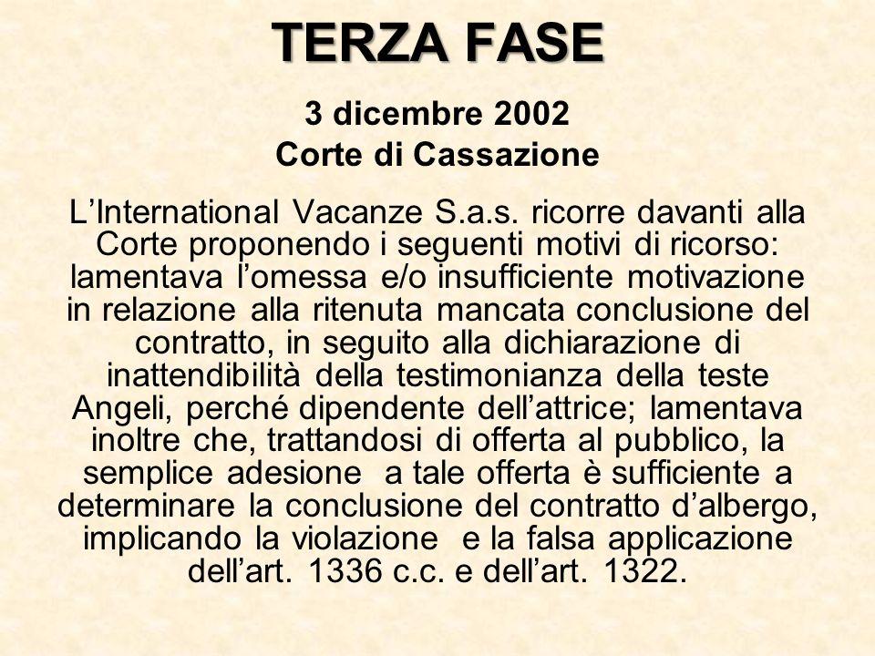 TERZA FASE 3 dicembre 2002 Corte di Cassazione LInternational Vacanze S.a.s. ricorre davanti alla Corte proponendo i seguenti motivi di ricorso: lamen