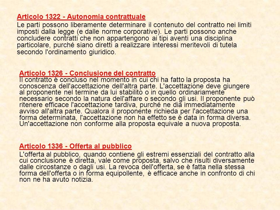 Articolo 1322 - Autonomia contrattuale Le parti possono liberamente determinare il contenuto del contratto nei limiti imposti dalla legge (e dalle nor