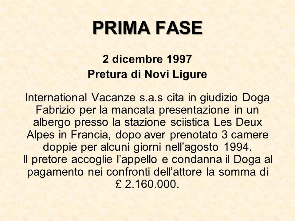 PRIMA FASE 2 dicembre 1997 Pretura di Novi Ligure International Vacanze s.a.s cita in giudizio Doga Fabrizio per la mancata presentazione in un albergo presso la stazione sciistica Les Deux Alpes in Francia, dopo aver prenotato 3 camere doppie per alcuni giorni nellagosto 1994.