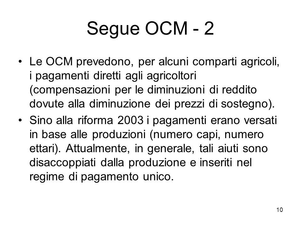 10 Segue OCM - 2 Le OCM prevedono, per alcuni comparti agricoli, i pagamenti diretti agli agricoltori (compensazioni per le diminuzioni di reddito dovute alla diminuzione dei prezzi di sostegno).