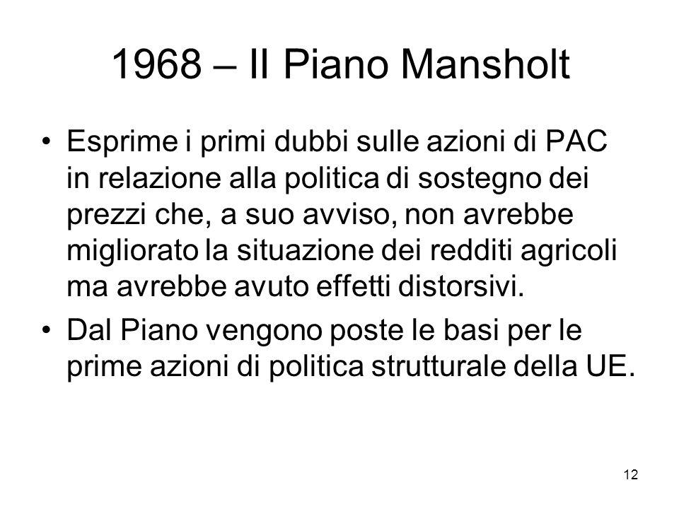 12 1968 – II Piano Mansholt Esprime i primi dubbi sulle azioni di PAC in relazione alla politica di sostegno dei prezzi che, a suo avviso, non avrebbe migliorato la situazione dei redditi agricoli ma avrebbe avuto effetti distorsivi.