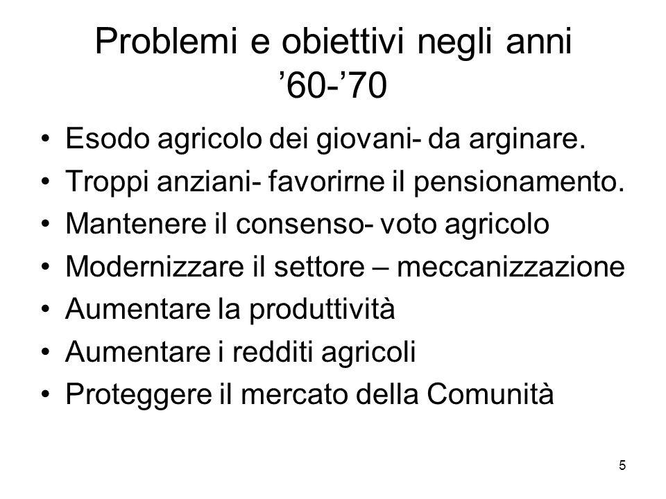 5 Problemi e obiettivi negli anni 60-70 Esodo agricolo dei giovani- da arginare.