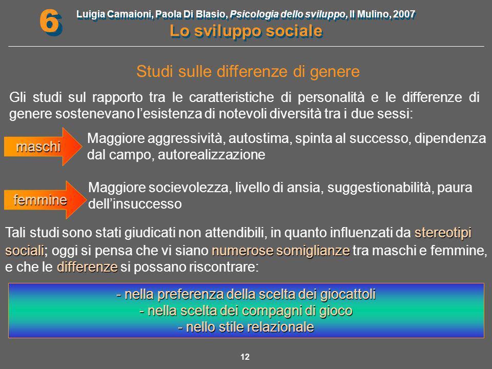 Luigia Camaioni, Paola Di Blasio, Psicologia dello sviluppo, Il Mulino, 2007 Lo sviluppo sociale 6 6 13 Fattori che influenzano la tipizzazione sessuale La tipizzazione sessuale è il risultato dellinterazione di 4 fattori : Sociali Educativi Cognitivi Biologici