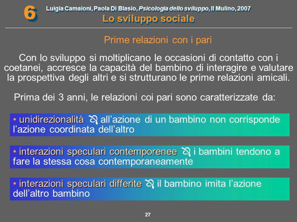Luigia Camaioni, Paola Di Blasio, Psicologia dello sviluppo, Il Mulino, 2007 Lo sviluppo sociale 6 6 28 Dopo i 3 anni, le interazioni diventano complementari e reciproche.