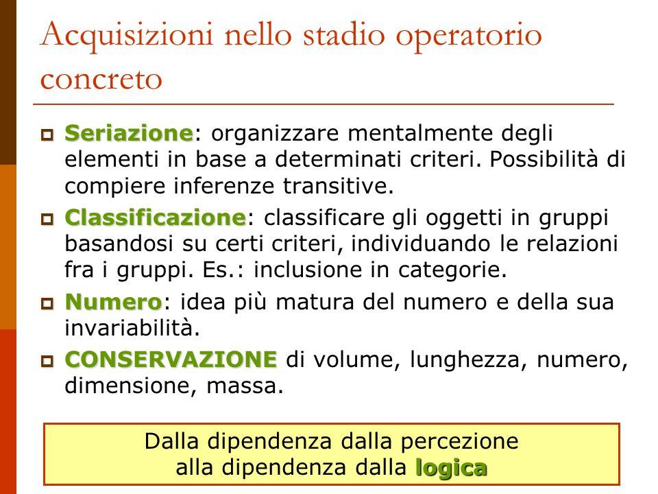 Acquisizioni nello stadio operatorio concreto Seriazione Seriazione: organizzare mentalmente degli elementi in base a determinati criteri. Possibilità