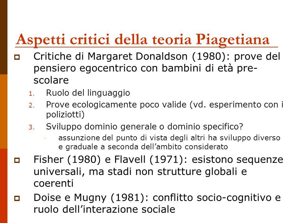 Aspetti critici della teoria Piagetiana Critiche di Margaret Donaldson (1980): prove del pensiero egocentrico con bambini di età pre- scolare 1. Ruolo