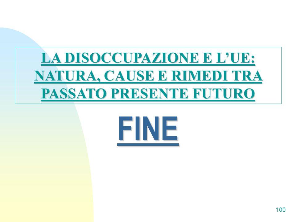 100 FINE LA DISOCCUPAZIONE E LUE: NATURA, CAUSE E RIMEDI TRA PASSATO PRESENTE FUTURO