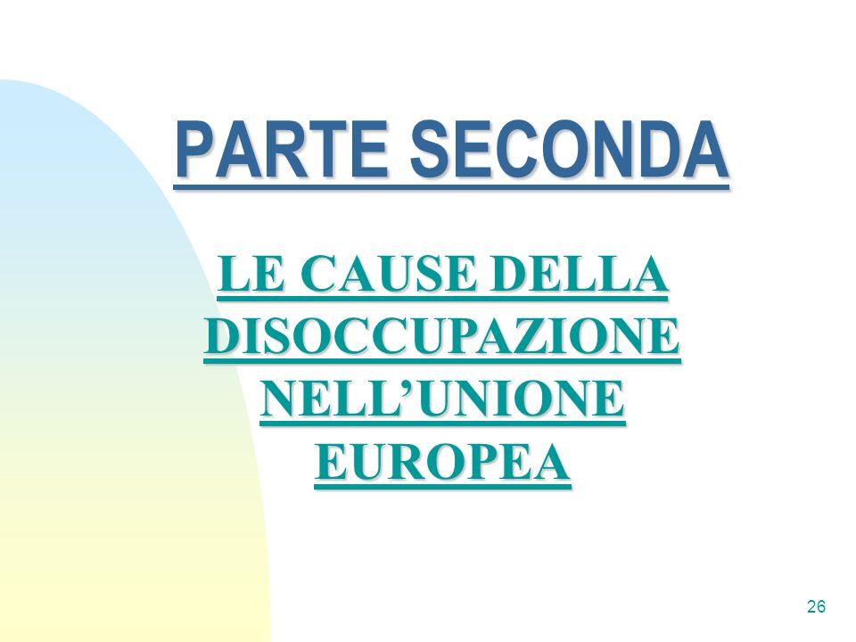 26 PARTE SECONDA LE CAUSE DELLA DISOCCUPAZIONE NELLUNIONE EUROPEA