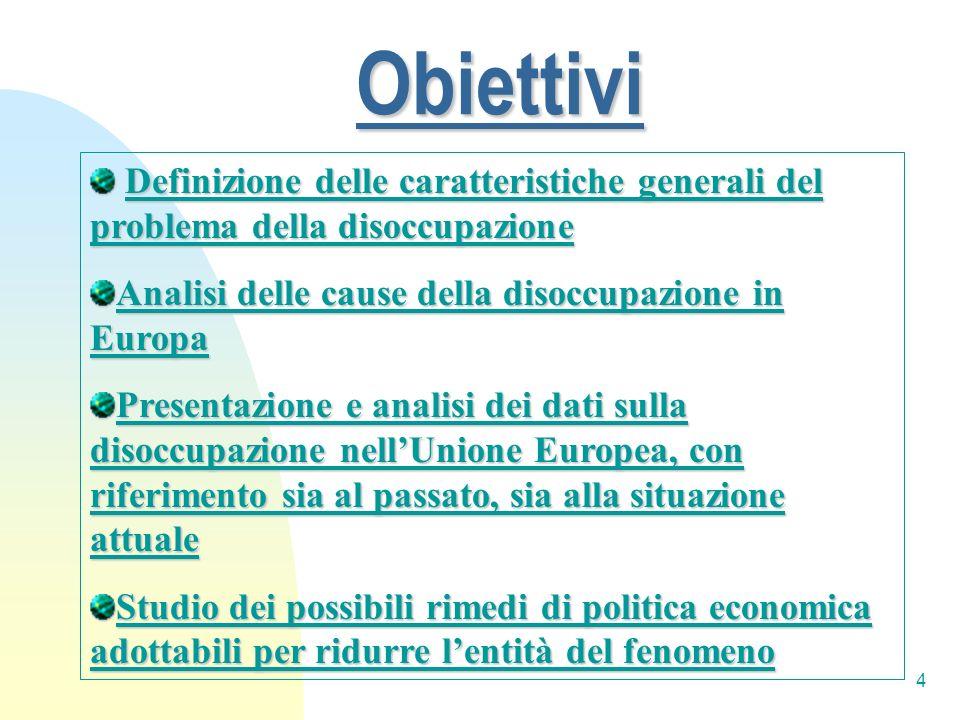 4 Obiettivi Definizione delle caratteristiche generali del problema della disoccupazione Definizione delle caratteristiche generali del problema della