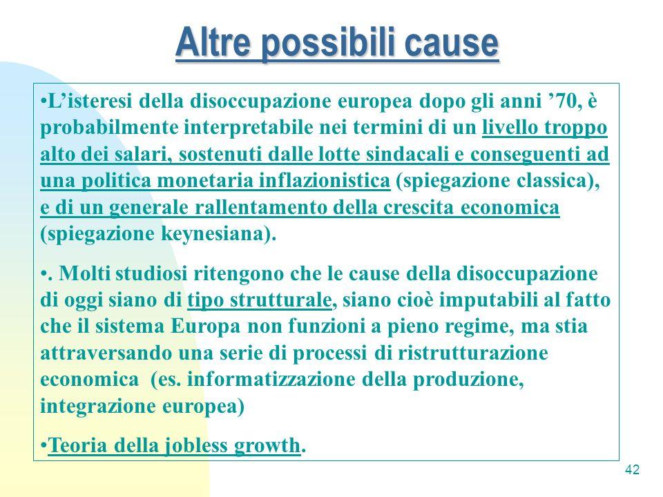 42 Altre possibili cause Listeresi della disoccupazione europea dopo gli anni 70, è probabilmente interpretabile nei termini di un livello troppo alto