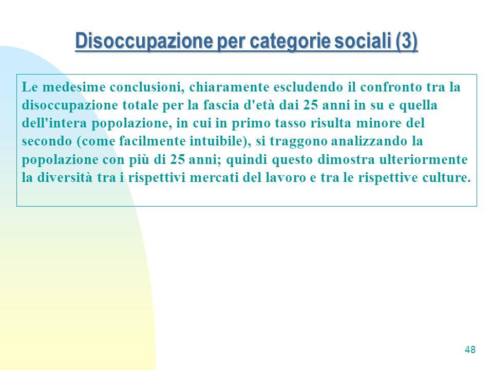 48 Disoccupazione per categorie sociali (3) Le medesime conclusioni, chiaramente escludendo il confronto tra la disoccupazione totale per la fascia d'