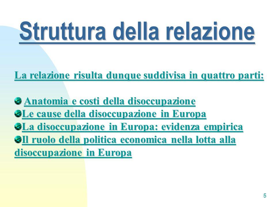 5 Struttura della relazione La relazione risulta dunque suddivisa in quattro parti: Anatomia e costi della disoccupazione Anatomia e costi della disoc
