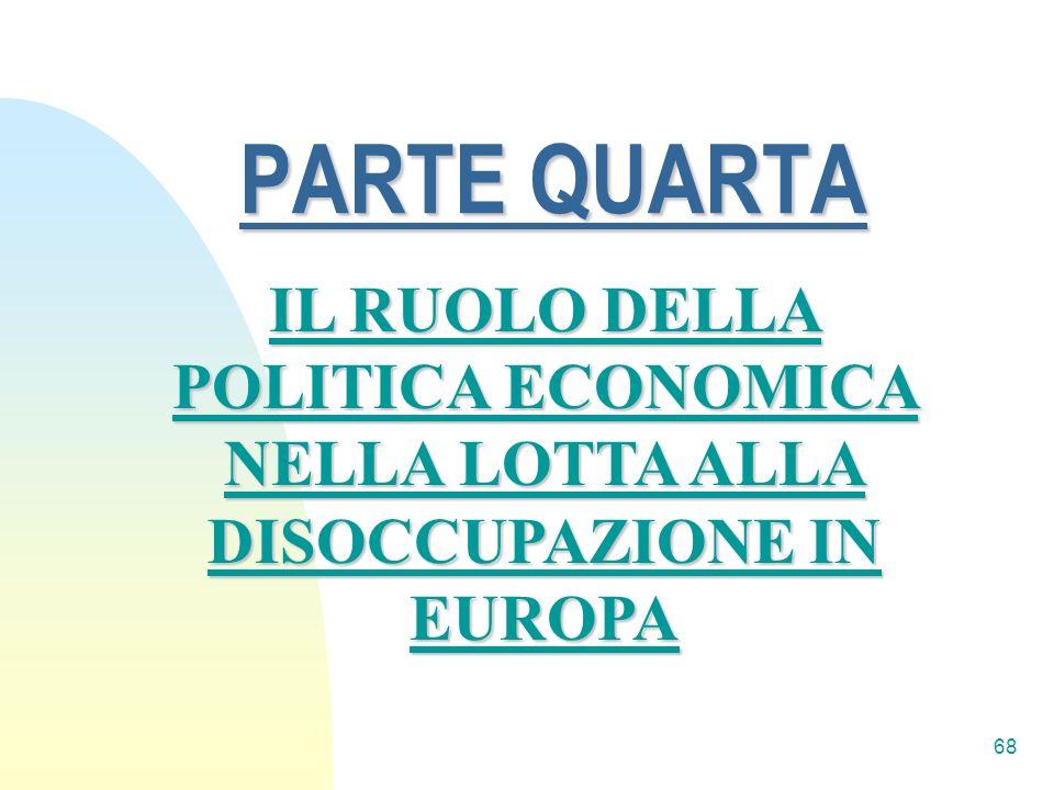 68 PARTE QUARTA IL RUOLO DELLA POLITICA ECONOMICA NELLA LOTTA ALLA DISOCCUPAZIONE IN EUROPA