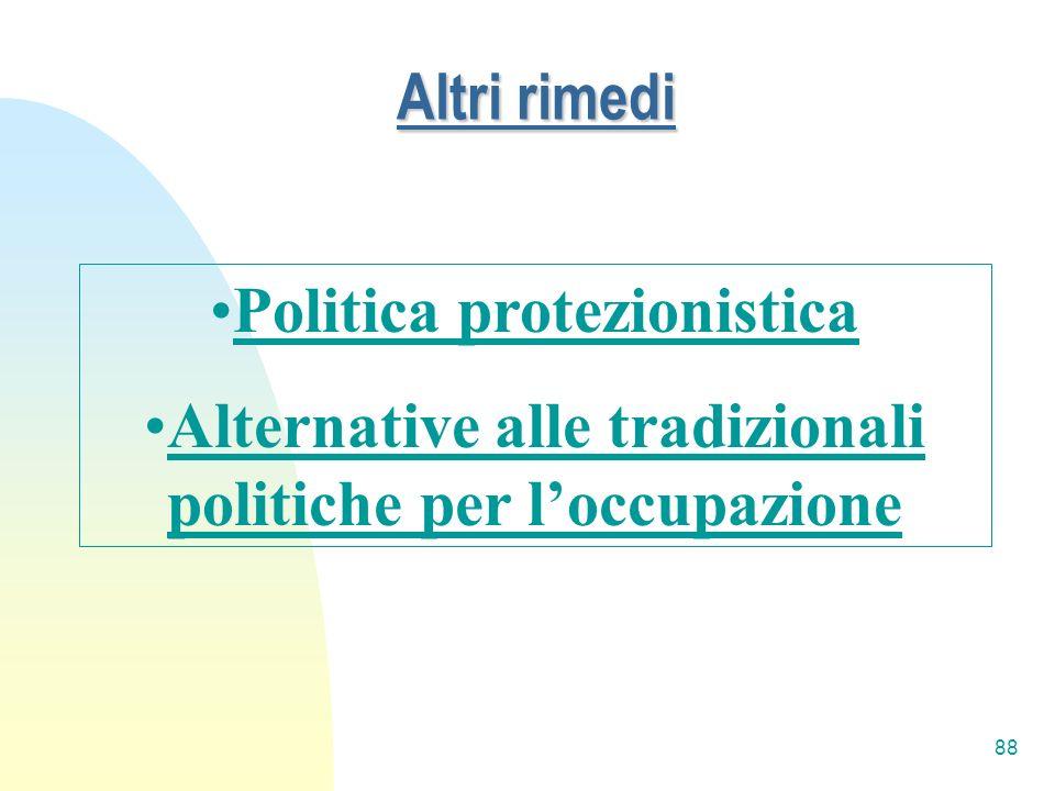 88 Altri rimedi Politica protezionistica Alternative alle tradizionali politiche per loccupazione