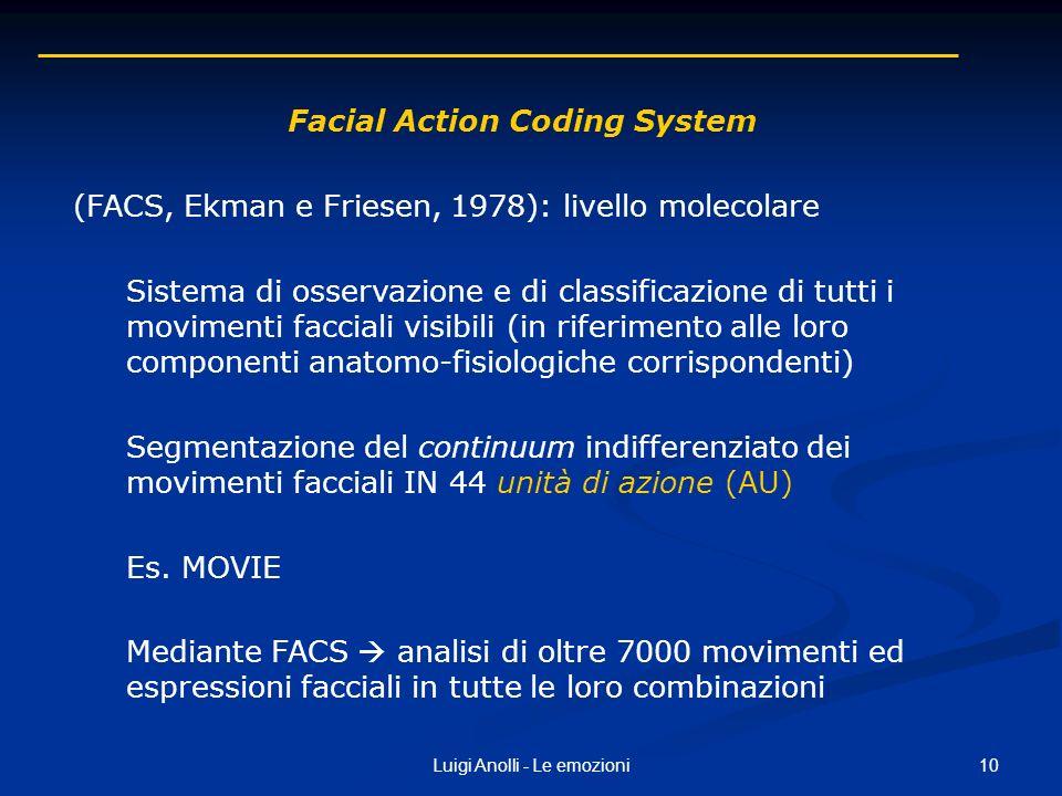 10Luigi Anolli - Le emozioni Facial Action Coding System (FACS, Ekman e Friesen, 1978): livello molecolare Sistema di osservazione e di classificazion