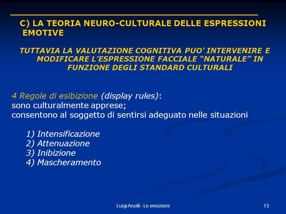 13Luigi Anolli - Le emozioni C) LA TEORIA NEURO-CULTURALE DELLE ESPRESSIONI EMOTIVE TUTTAVIA LA VALUTAZIONE COGNITIVA PUO INTERVENIRE E MODIFICARE LES