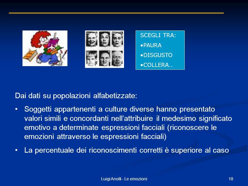 18Luigi Anolli - Le emozioni Dai dati su popolazioni alfabetizzate: Soggetti appartenenti a culture diverse hanno presentato valori simili e concordan