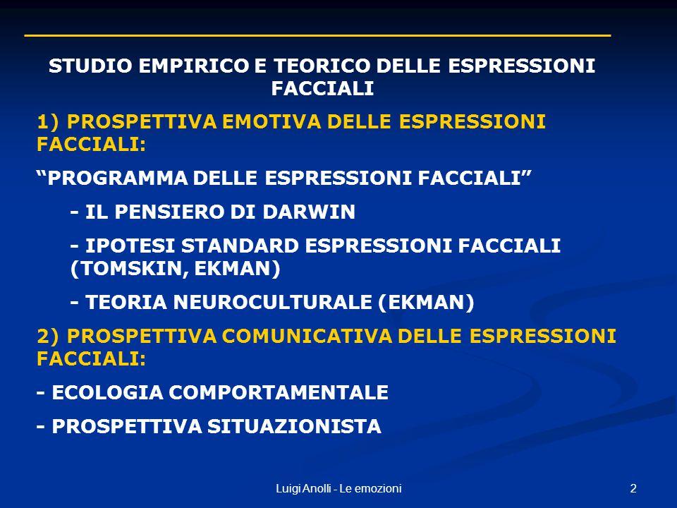 2Luigi Anolli - Le emozioni 1) PROSPETTIVA EMOTIVA DELLE ESPRESSIONI FACCIALI: PROGRAMMA DELLE ESPRESSIONI FACCIALI - IL PENSIERO DI DARWIN - IPOTESI