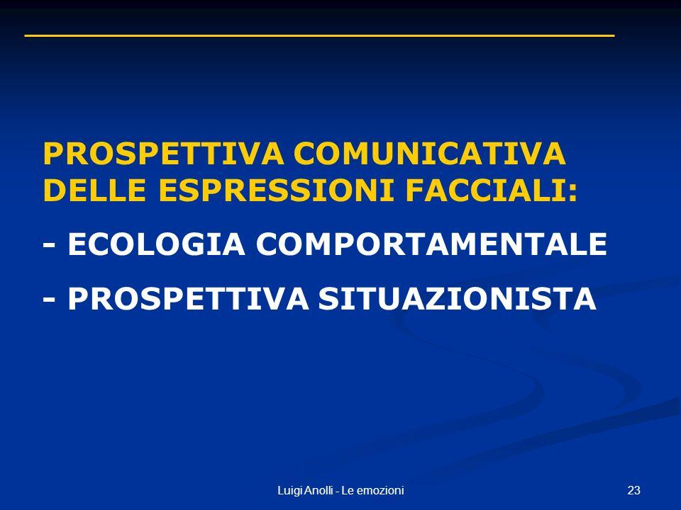 23Luigi Anolli - Le emozioni PROSPETTIVA COMUNICATIVA DELLE ESPRESSIONI FACCIALI: - ECOLOGIA COMPORTAMENTALE - PROSPETTIVA SITUAZIONISTA