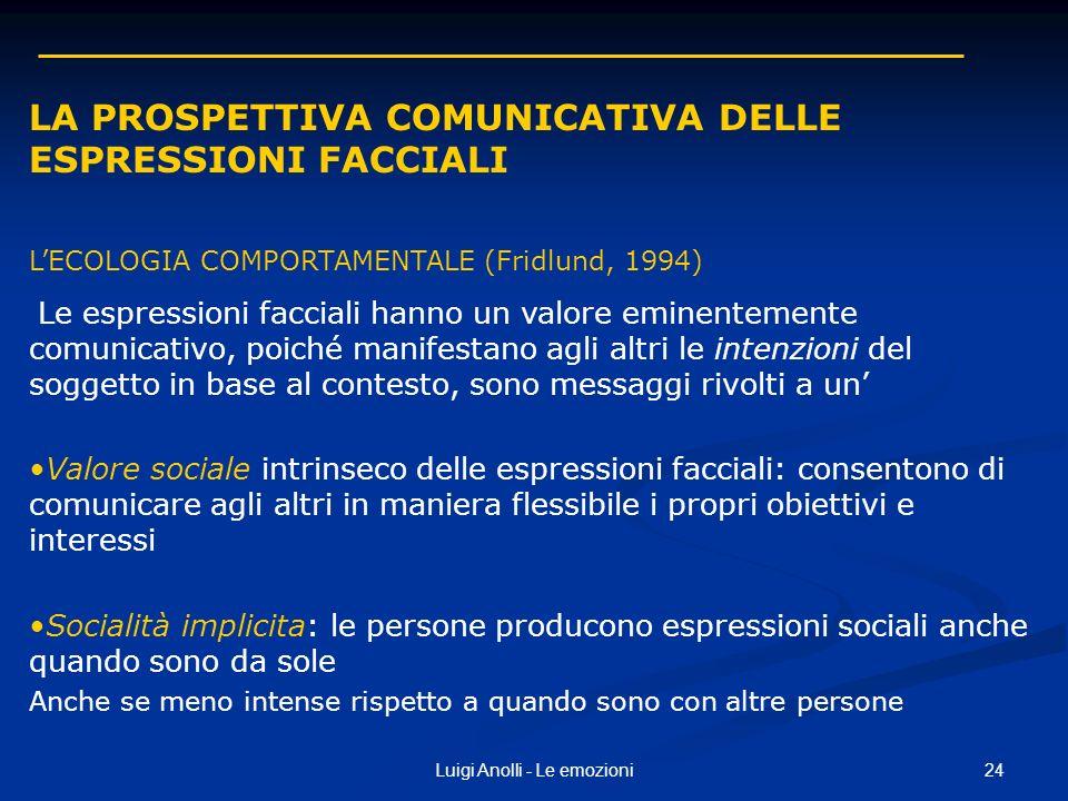 24Luigi Anolli - Le emozioni LA PROSPETTIVA COMUNICATIVA DELLE ESPRESSIONI FACCIALI LECOLOGIA COMPORTAMENTALE (Fridlund, 1994) Le espressioni facciali