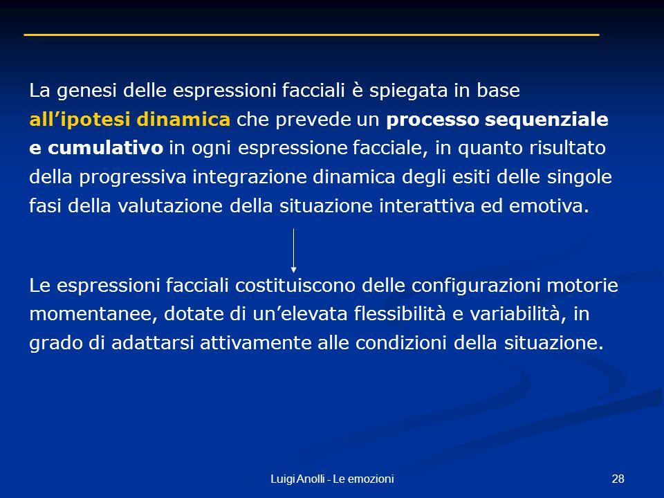 28Luigi Anolli - Le emozioni La genesi delle espressioni facciali è spiegata in base allipotesi dinamica che prevede un processo sequenziale e cumulat