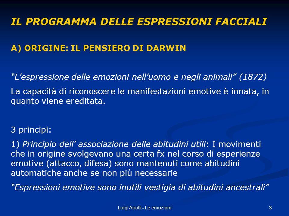 3Luigi Anolli - Le emozioni IL PROGRAMMA DELLE ESPRESSIONI FACCIALI A) ORIGINE: IL PENSIERO DI DARWIN Lespressione delle emozioni nelluomo e negli ani