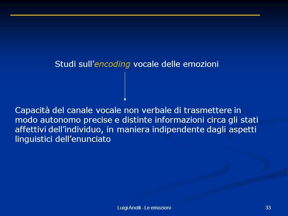 33Luigi Anolli - Le emozioni Studi sullencoding vocale delle emozioni Capacità del canale vocale non verbale di trasmettere in modo autonomo precise e