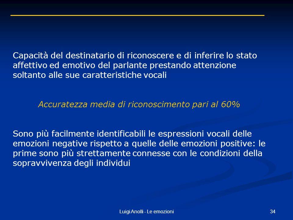 34Luigi Anolli - Le emozioni Capacità del destinatario di riconoscere e di inferire lo stato affettivo ed emotivo del parlante prestando attenzione so