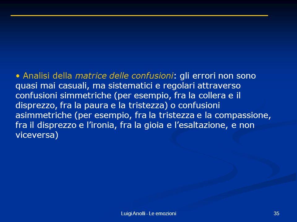35Luigi Anolli - Le emozioni Analisi della matrice delle confusioni: gli errori non sono quasi mai casuali, ma sistematici e regolari attraverso confu