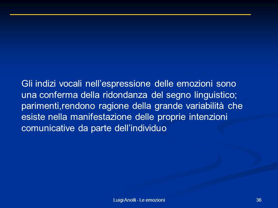 36Luigi Anolli - Le emozioni Gli indizi vocali nellespressione delle emozioni sono una conferma della ridondanza del segno linguistico; parimenti,rend