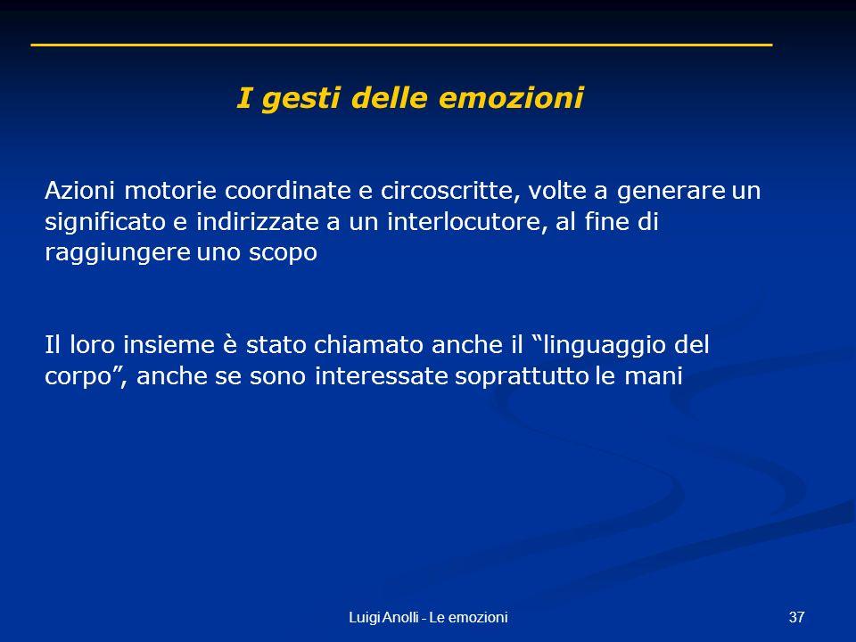 37Luigi Anolli - Le emozioni I gesti delle emozioni Azioni motorie coordinate e circoscritte, volte a generare un significato e indirizzate a un inter