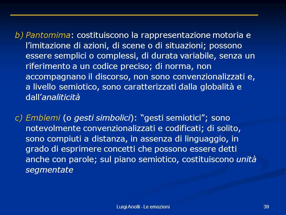 39Luigi Anolli - Le emozioni b)Pantomima: costituiscono la rappresentazione motoria e limitazione di azioni, di scene o di situazioni; possono essere