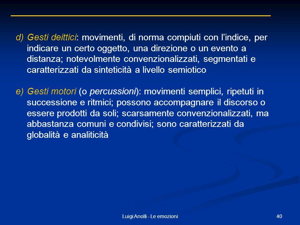40Luigi Anolli - Le emozioni d)Gesti deittici: movimenti, di norma compiuti con lindice, per indicare un certo oggetto, una direzione o un evento a di