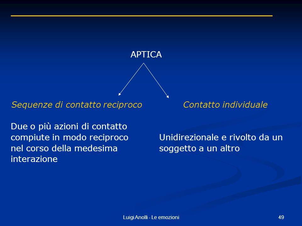 49Luigi Anolli - Le emozioni Sequenze di contatto reciproco Due o più azioni di contatto compiute in modo reciproco nel corso della medesima interazio