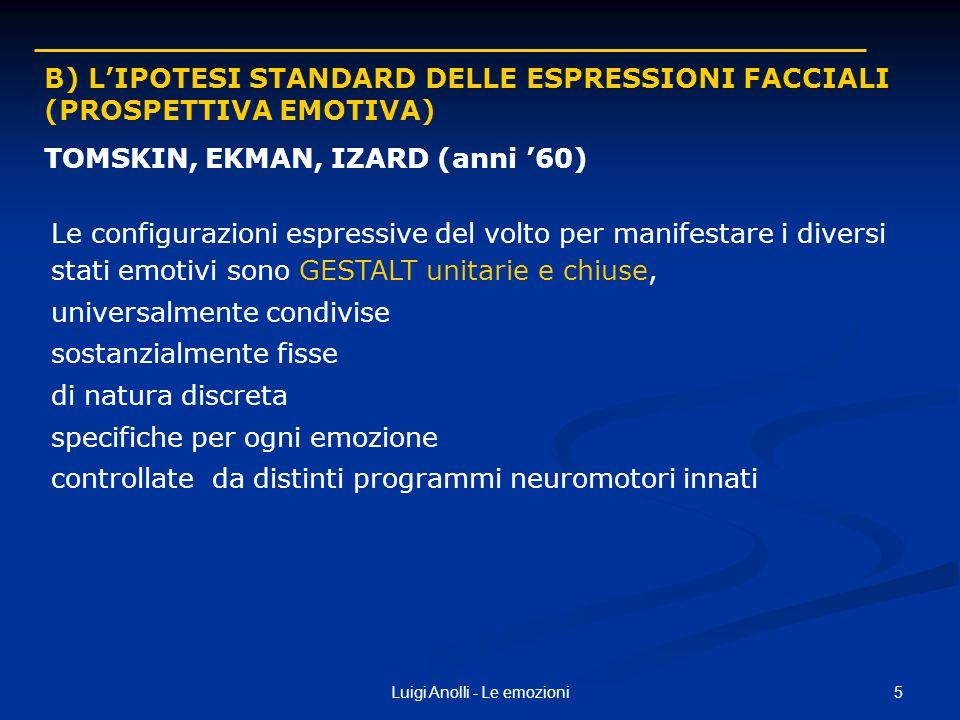 5Luigi Anolli - Le emozioni B) LIPOTESI STANDARD DELLE ESPRESSIONI FACCIALI (PROSPETTIVA EMOTIVA) TOMSKIN, EKMAN, IZARD (anni 60) Le configurazioni es