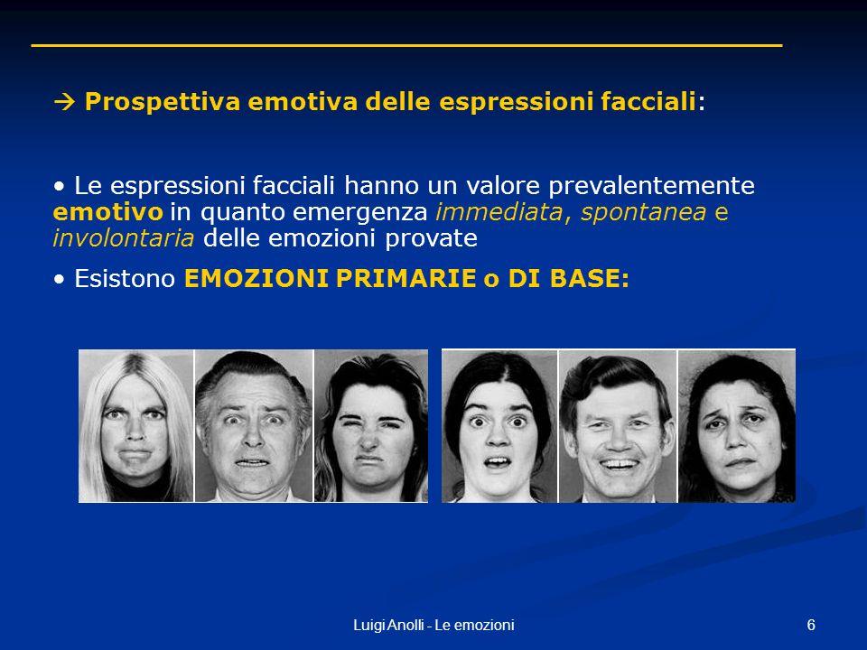 6Luigi Anolli - Le emozioni Prospettiva emotiva delle espressioni facciali: Le espressioni facciali hanno un valore prevalentemente emotivo in quanto