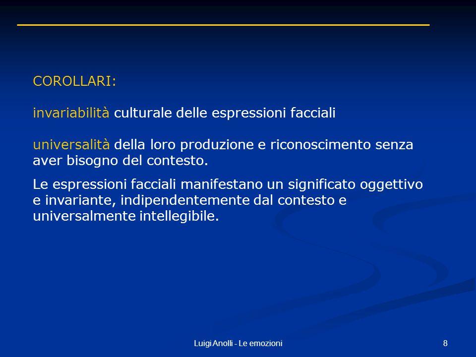 8Luigi Anolli - Le emozioni COROLLARI: invariabilità culturale delle espressioni facciali universalità della loro produzione e riconoscimento senza av