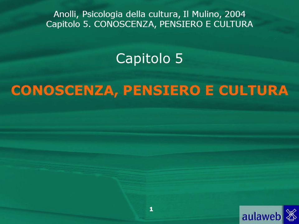 Anolli, Psicologia della cultura, Il Mulino, 2004 Capitolo 5. CONOSCENZA, PENSIERO E CULTURA 1 Capitolo 5 CONOSCENZA, PENSIERO E CULTURA