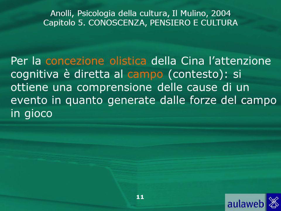 Anolli, Psicologia della cultura, Il Mulino, 2004 Capitolo 5. CONOSCENZA, PENSIERO E CULTURA 11 Per la concezione olistica della Cina lattenzione cogn